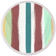 Marsala Stripe- Abstract Pattern Painting Round Beach Towel