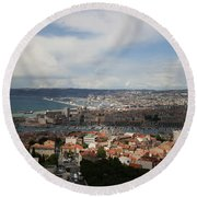 Marseille View From Cathedral Notre Dame De La Garde Round Beach Towel