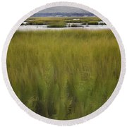 Marsh At Milford Point Round Beach Towel