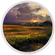 Marsh At Sunrise Round Beach Towel