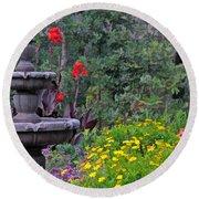 Garden Fountain And Flowers Round Beach Towel