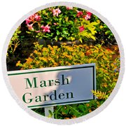 Marsh Garden Sign And Flowers Round Beach Towel