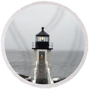 Marshall Point Light On A Foggy Day Round Beach Towel