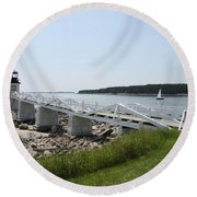 Marshall Point Light Station Round Beach Towel
