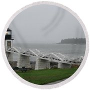 Marshall Point Light Station - Maine Round Beach Towel