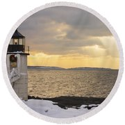 Marshall Point Lighthouse In Winter Maine  Round Beach Towel