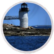Marshall Point Surrounded By Blue Round Beach Towel by Karol Livote