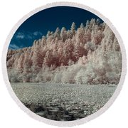 Marshall Pond In Infrared Round Beach Towel