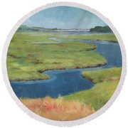 Marshes At High Tide Round Beach Towel
