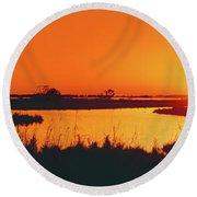Marshland At Dusk, Bayou Country, Route Round Beach Towel
