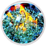 Marshmallow Fire Abstract Round Beach Towel