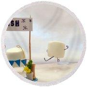 Marshmallow Marathon Round Beach Towel by Heather Applegate