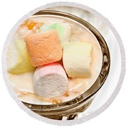 Marshmallow Peach Yogurt Parfait Round Beach Towel