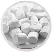 Marshmallows On Plate Round Beach Towel
