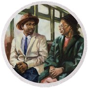 Martin And Rosa Up Front Round Beach Towel