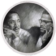 Martin Luther King Jr And Malcolm X Round Beach Towel
