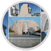 Martin Luther King Jr Memorial Collage 1 Round Beach Towel