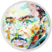 Martin Luther King Jr. - Watercolor Portrait Round Beach Towel
