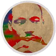 Martin Luther King Jr Watercolor Portrait On Worn Distressed Canvas Round Beach Towel