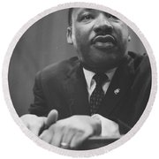 Martin Luther King Press Conference 1964 Round Beach Towel by Anonymous