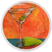Martini And Pepper Round Beach Towel