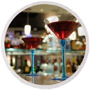 Martini Glasses In Bar Round Beach Towel