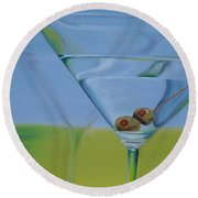 Martini Time Round Beach Towel