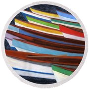 Martinique Boats Round Beach Towel