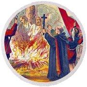 Martyrdom Of Ridley And Latimer, 1555 Round Beach Towel