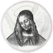 Mary After Davinci Round Beach Towel