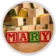 Mary - Alphabet Blocks Round Beach Towel