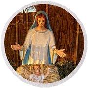 Mary And Baby Jesus Round Beach Towel