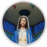 Mary And Grapes Round Beach Towel