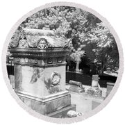 Mary And John Tyler Memorial Near Infrared Black And White Round Beach Towel