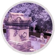 Mary And John Tyler Memorial Near Infrared Lavender And Pink Round Beach Towel