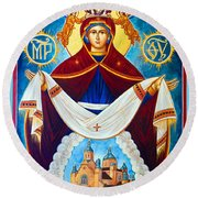 Mary And The Holy Church Round Beach Towel