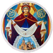 Mary In Red Round Beach Towel