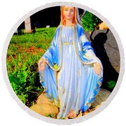 Mary In Sunlight Round Beach Towel