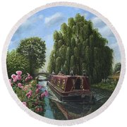 Mary Jane Chesterfield Canal Nottinghamshire Round Beach Towel