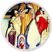 Mary Joseph And Jesus Vintage Religious Catholic Statues Patron Saints And Angels Cb Spandau Quebec Round Beach Towel