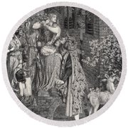 Mary Magdalene At The Door Of Simon Round Beach Towel