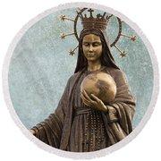 Mary Mother Of Jesus Round Beach Towel