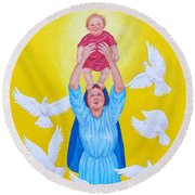 Mary Offers Her Child Jesus To His Father Round Beach Towel