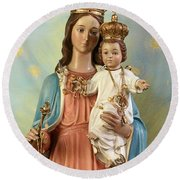 Mary Statue At Taybeh Village Round Beach Towel