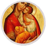 Mary The God Bearer Round Beach Towel by Philip Ralley