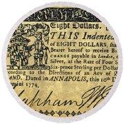 Maryland Bank Note, 1774 Round Beach Towel