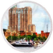 Maryland - Boats At Inner Harbor Baltimore Md Round Beach Towel