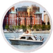 Maryland - Cabin Cruiser By Baltimore Skyline Round Beach Towel