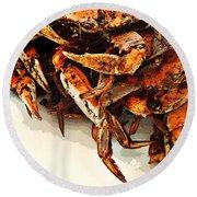 Maryland Crabs Round Beach Towel