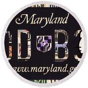 Maryland License Plate Round Beach Towel